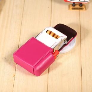 Usnjeni etui ovitek za cigarete z žepkom za vžigalnik